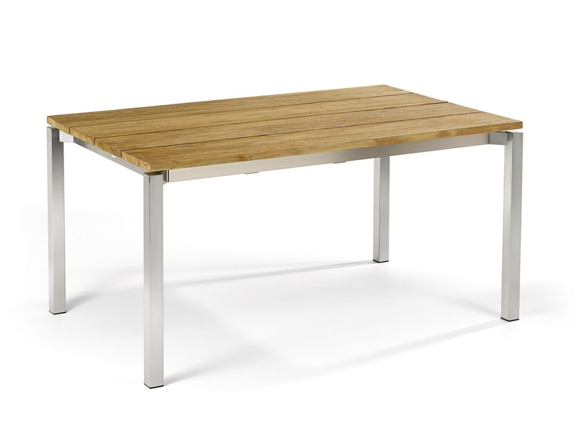 Extending rectangular teak garden table MODENA | Teak table - FISCHER MÖBEL