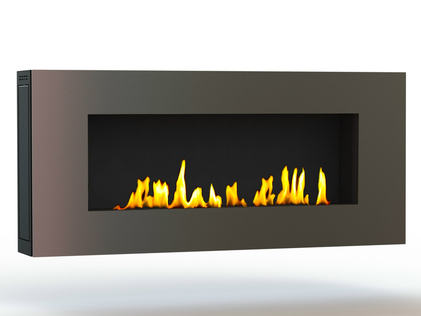 Bioethanol wall-mounted brushed stainless steel fireplace APOLLO II CREA7ION by GlammFire