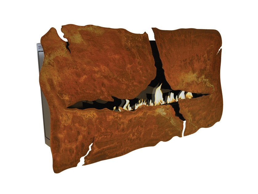 Bioethanol wall-mounted Corten™ fireplace APOLLO IV CREA7ION - GlammFire
