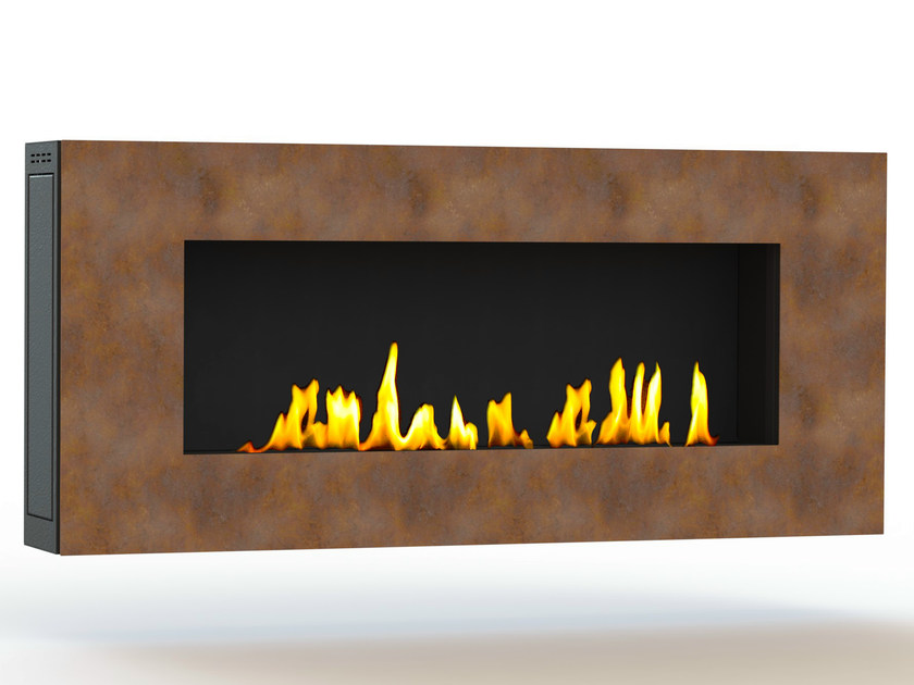 Bioethanol wall-mounted Corten™ fireplace APOLLO I CREA7ION - GlammFire