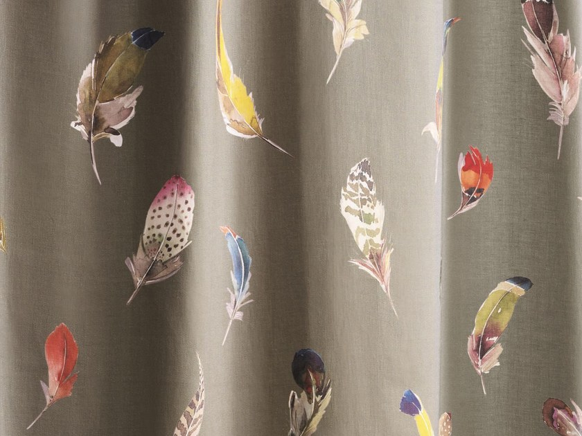 Linen fabric for curtains BIRDS GALLERY | Fabric for curtains - Zimmer + Rohde