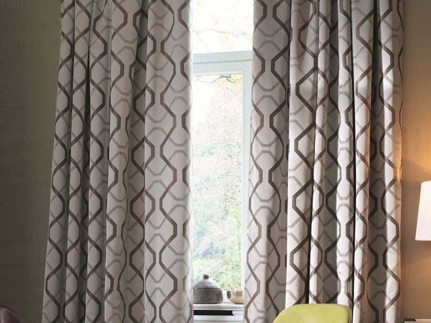 Polyester fabric with graphic pattern for curtains CALVIN by Zimmer + Rohde