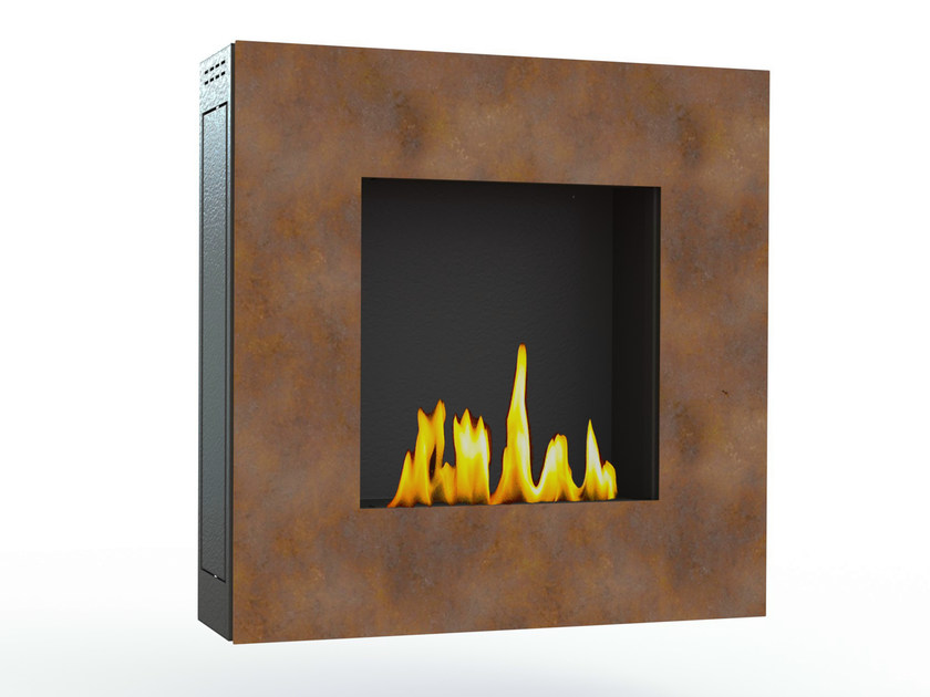 Bioethanol wall-mounted Corten™ fireplace LOTUS I CREA7ION - GlammFire