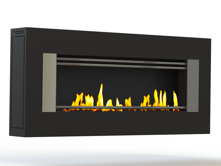Bioethanol wall-mounted brushed stainless steel fireplace MITO GENESIS II CREA7ION - GlammFire