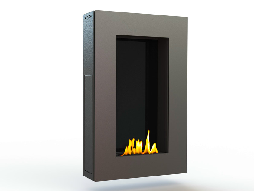 Bioethanol wall-mounted brushed stainless steel fireplace TANGO II CREA7ION - GlammFire