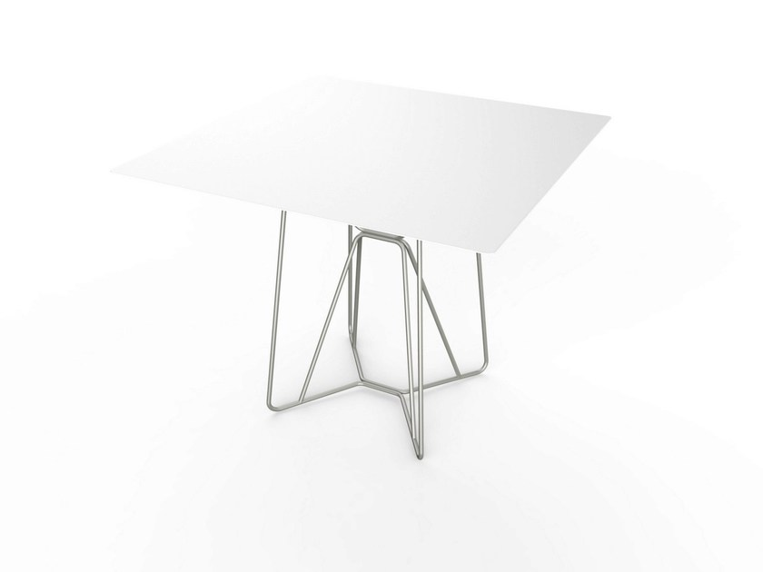 Contemporary style square Corian® garden table SLIM SQUARE TABLE 90 - VITEO