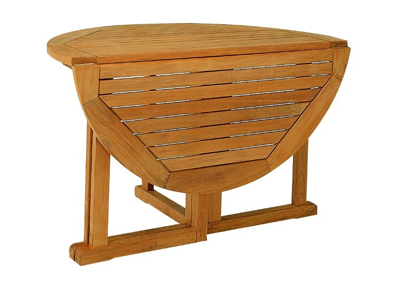 Folding round teak garden table FLORES | Folding table by FISCHER MÖBEL