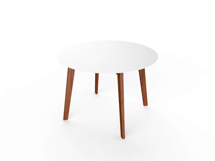 Round Corian® table SLIM WOOD TABLE 110 - VITEO