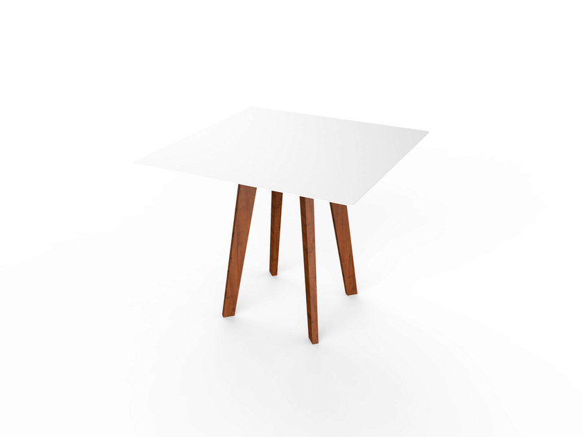 Square Corian® table SLIM WOOD SQUARE TABLE 90 - VITEO