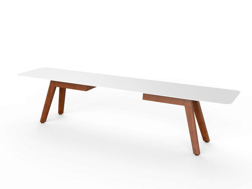 Corian® garden bench SLIM WOOD BENCH 200 - VITEO