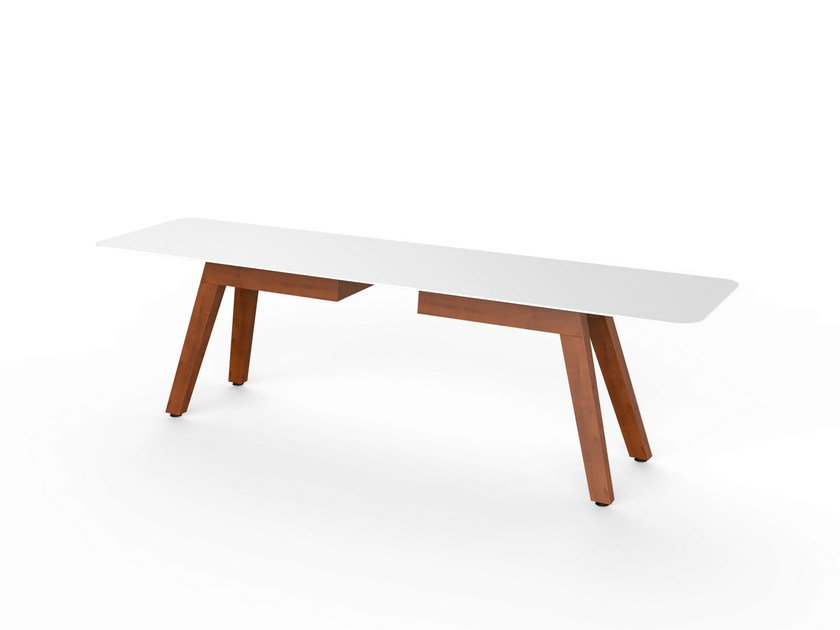 Corian® garden bench SLIM WOOD BENCH 160 - VITEO