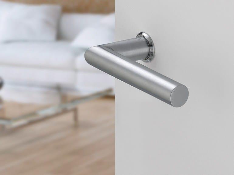 Brushed steel door handle on rose with lock MINI-ROSES | Brushed steel door handle - HOPPE