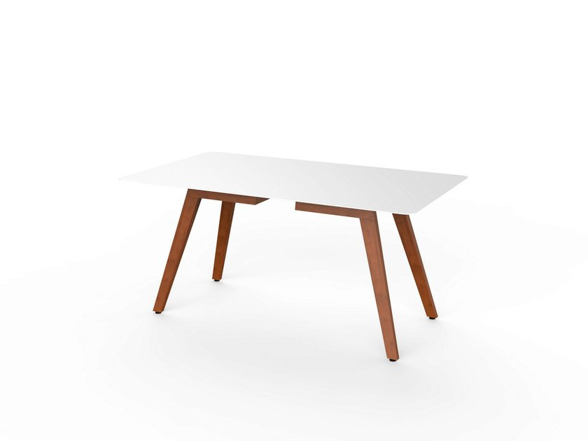 Rectangular Corian® garden table SLIM WOOD DINING 160 - VITEO