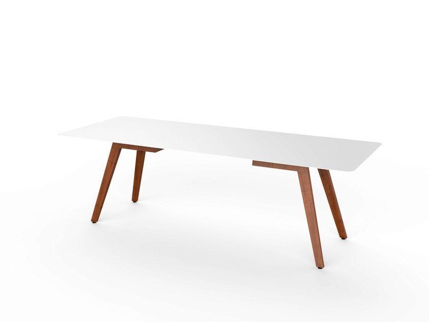 Rectangular Corian® garden table SLIM WOOD DINING 240 - VITEO