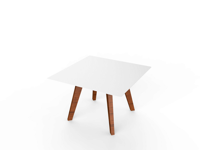 Square Corian® garden side table SLIM WOOD LOUNGE SQUARE TABLE 64 - VITEO