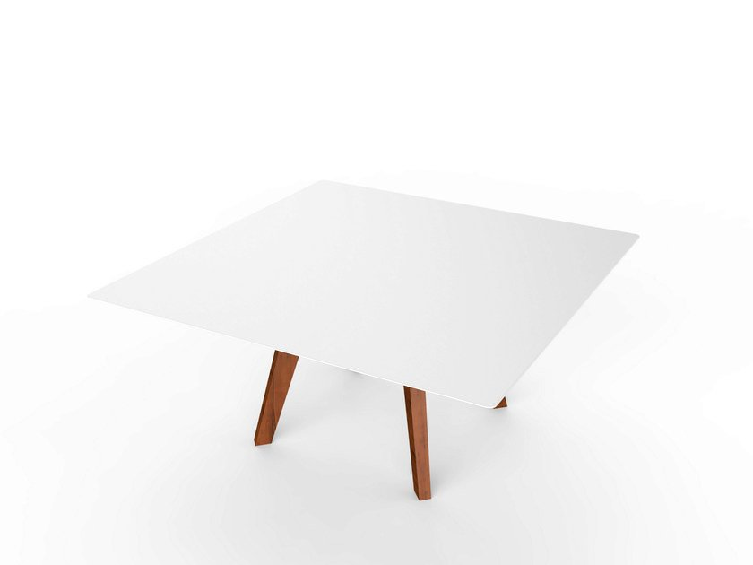 Square Corian® garden side table SLIM WOOD LOUNGE SQUARE TABLE 90 - VITEO