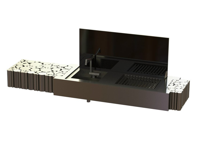 Activated charcoal stainless steel barbecue LA BOHÈME II - GlammFire