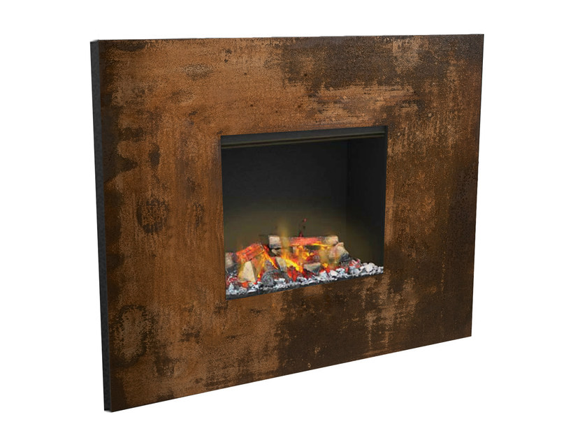 Built-in Corten™ fireplace with remote control SENSES III 3D - GlammFire