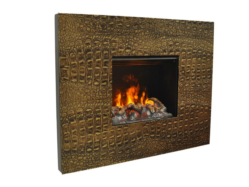 Electric leather fireplace with remote control SENSES I 3D - GlammFire