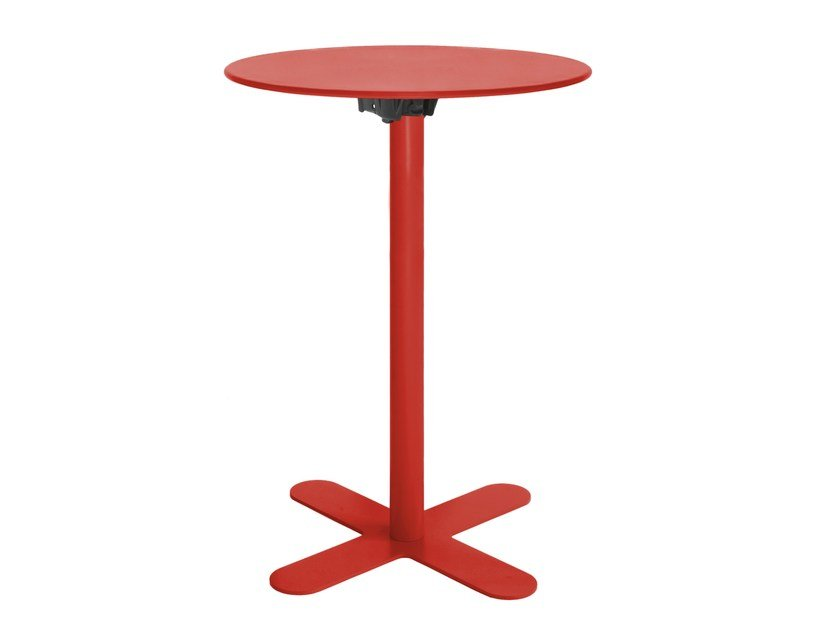 Galvanized steel garden table with 4-star base GENOVA - iSimar