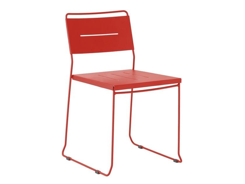 Sled base galvanized steel garden chair MANCHESTER - iSimar