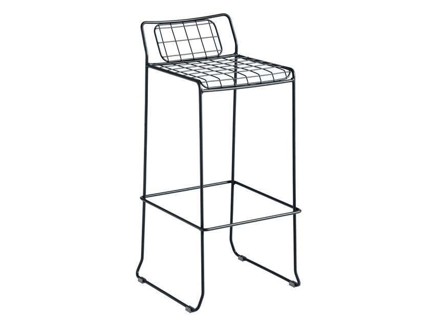 Sled base galvanized steel counter stool with footrest ROTTERDAM | Counter stool - iSimar