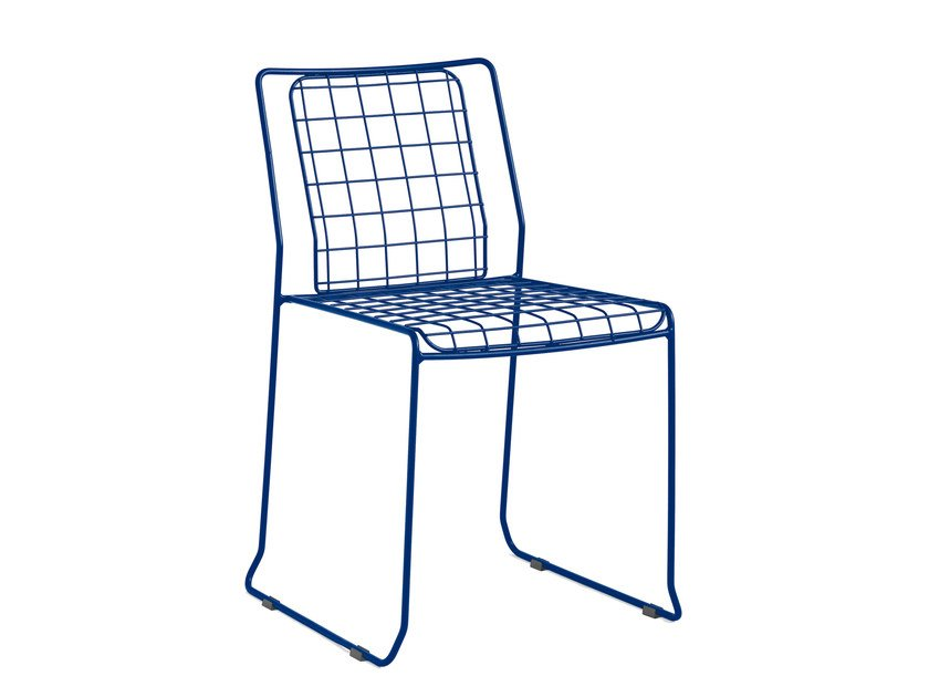 Sled base galvanized steel garden chair ROTTERDAM | Chair - iSimar