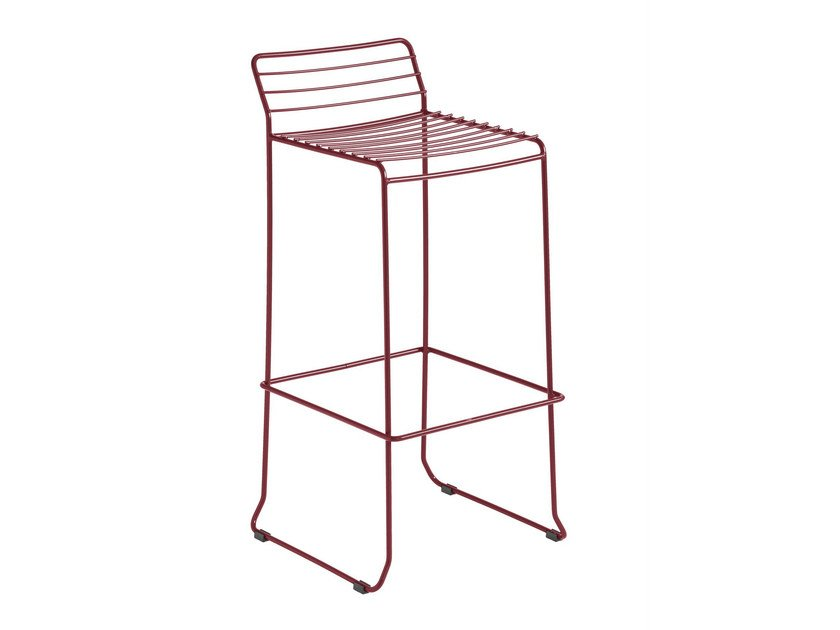 Sled base galvanized steel counter stool with footrest TARIFA | Counter stool - iSimar