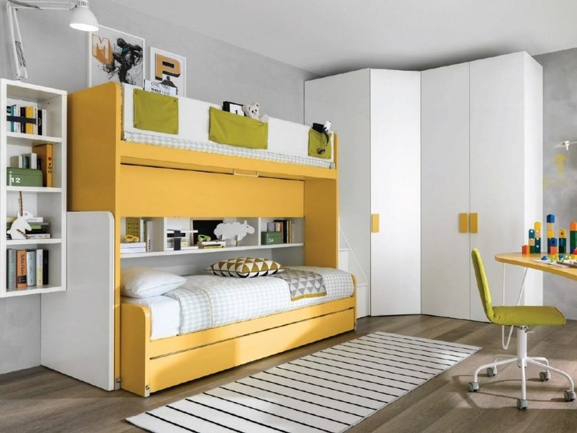 Bunk bed for kids' bedroom CASTELLO SLIDE by Zalf
