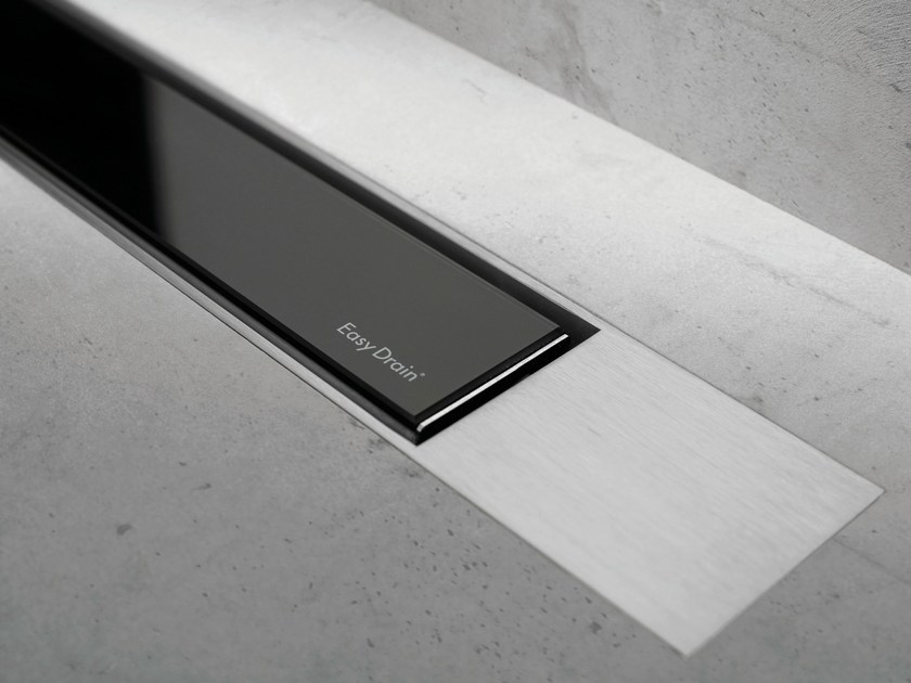 Glass shower channel MODULO DESIGN Z-2 BLACK GLASS + BRUSHED by ESS Easy Drain
