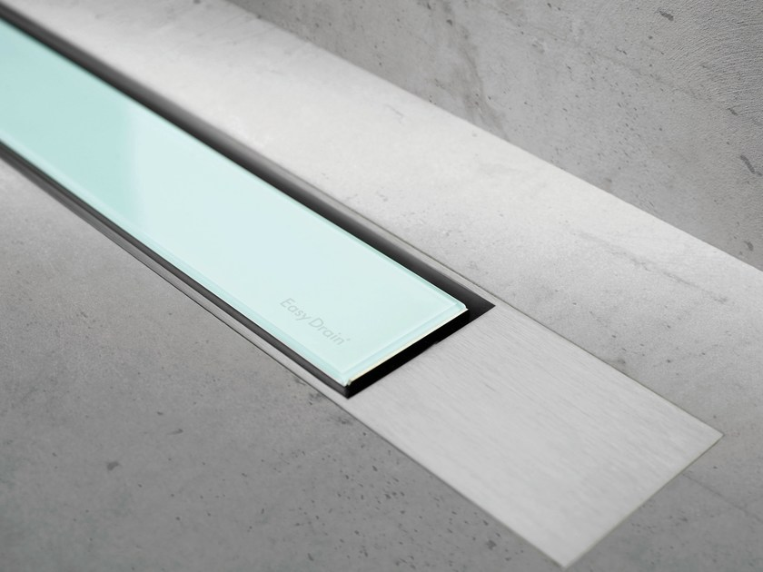 Glass shower channel MODULO DESIGN Z-2 GREEN GLASS + BRUSHED - Easy Sanitary Solutions