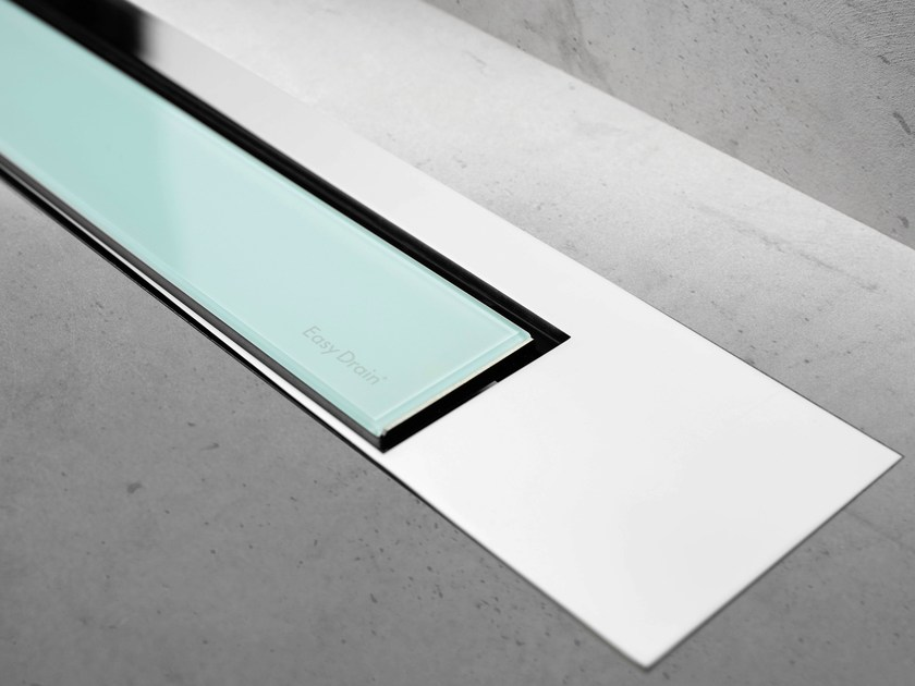 Glass shower channel MODULO DESIGN Z-3 GREEN GLASS + CHROME - Easy Sanitary Solutions
