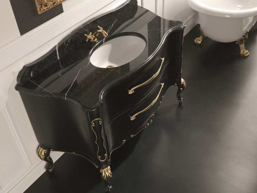 Classic style floor-standing lacquered wooden console sink with drawers NABUCCO 02 - Mobiltesino
