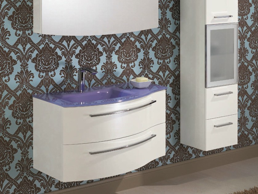 Lacquered vanity unit with cabinets F150 - Mobiltesino