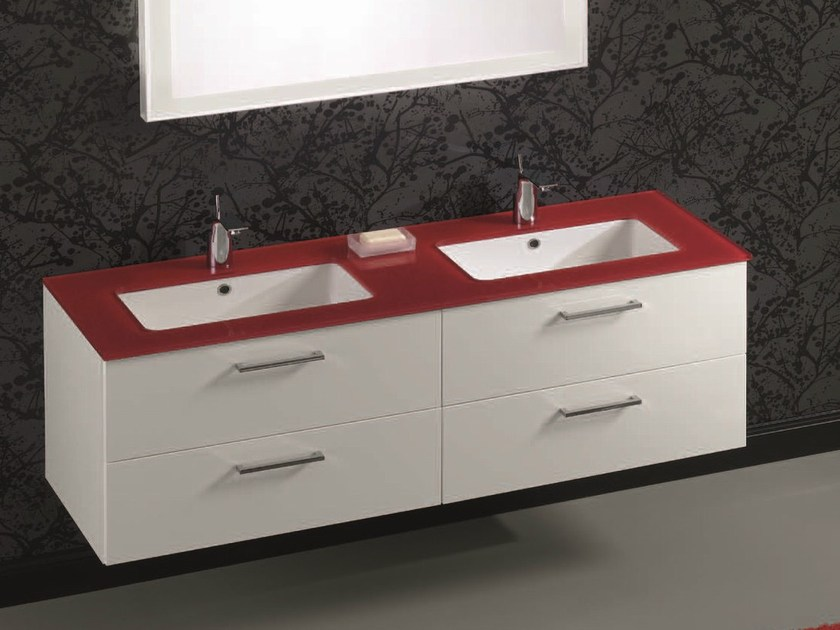Double vanity unit with drawers F148 by Mobiltesino