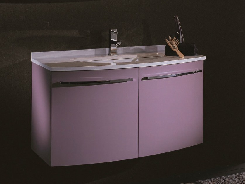 Single wall-mounted vanity unit F125 by Mobiltesino