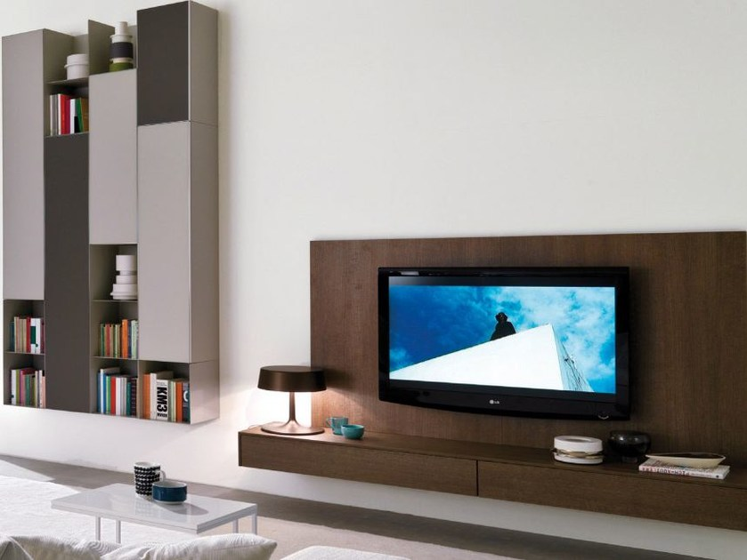 Wall-mounted modular wooden storage wall MODUS   Storage wall - Zalf