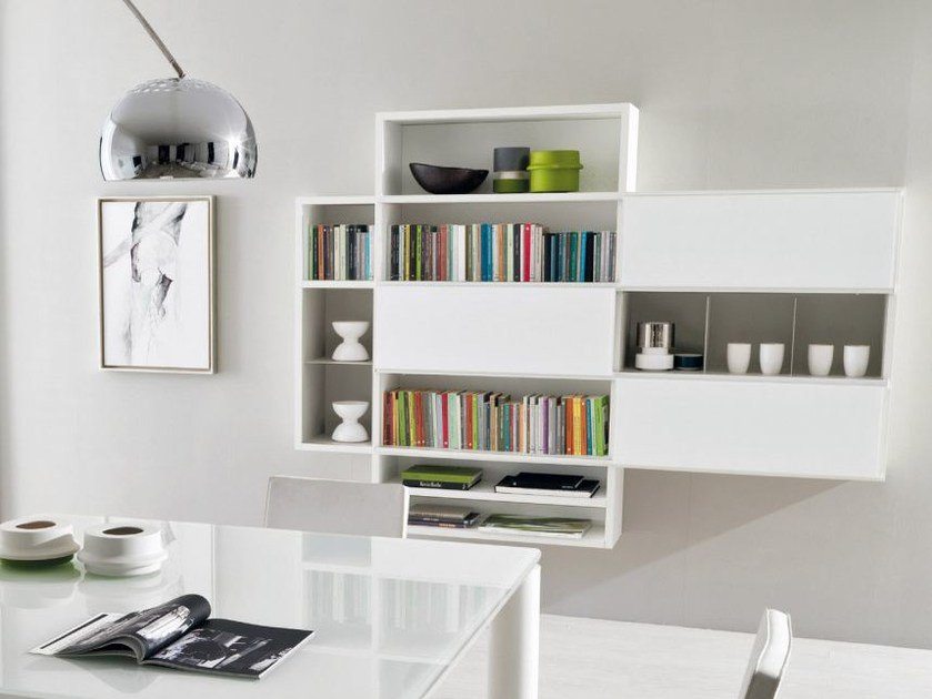 Lacquered floating bookcase LINK SYSTEM | Floating bookcase - Zalf