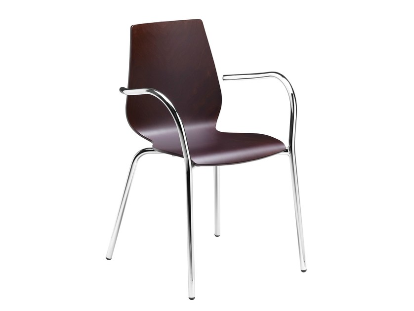 Stackable chair with armrests Nuvola 102 - Metalmobil