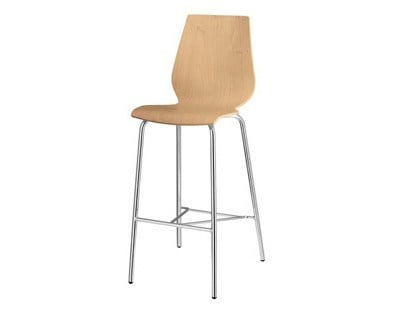 Wooden stool with footrest Nuvola 311 - Metalmobil