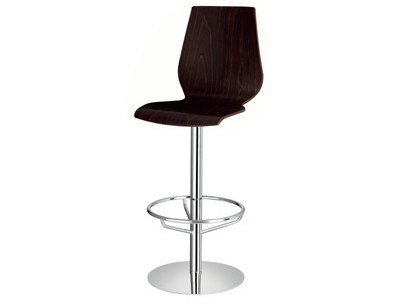Swivel wooden stool with footrest Nuvola 312 - Metalmobil