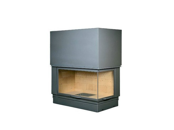 Corner steel Fireplace insert with Panoramic Glass F 1200 H VLD - CHEMINEES SEGUIN DUTERIEZ