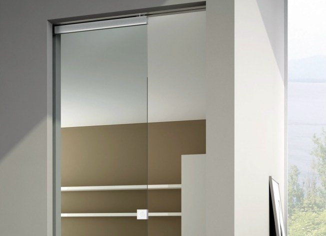 Metal sliding door track Semi-visibile V-1663 by Metalglas Bonomi
