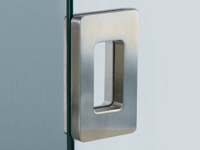 Metal glass door handle V-514 by Metalglas Bonomi