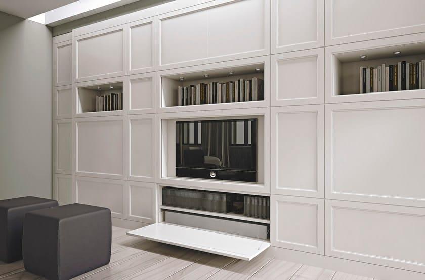 Parete attrezzata in legno con porta tv aeterna cenere for Pareti tv moderne