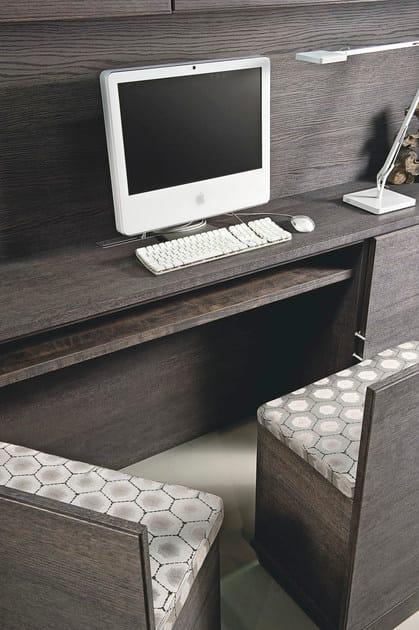 Parete attrezzata con scrivania integrata aeterna parete attrezzata l 39 origine - Parete attrezzata con scrivania ...
