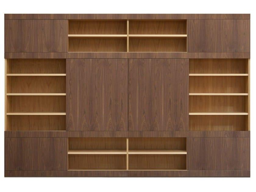 Libreria componibile in ciliegio e noce maschera scorrevole libreria componibile morelato - Libreria con porta scorrevole ...