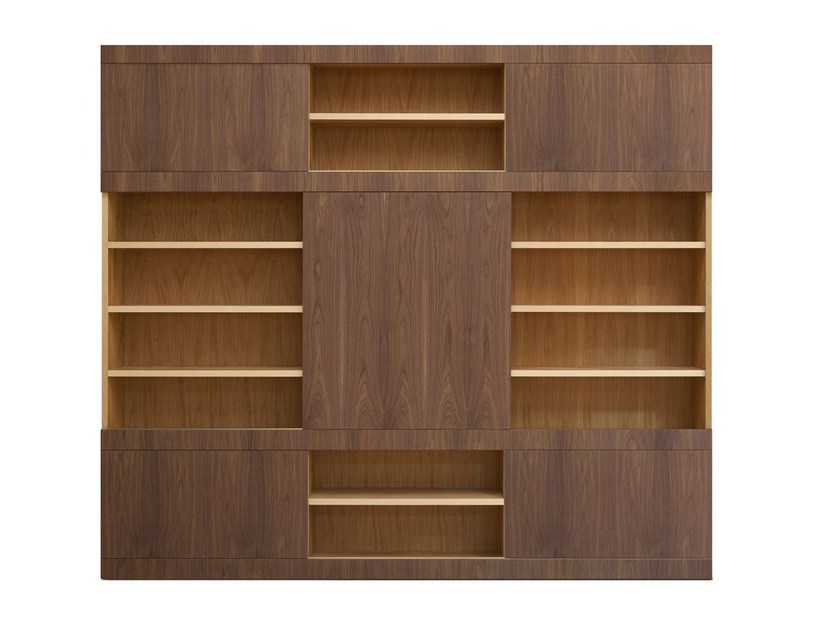 Sectional wooden bookcase MASCHERA SCORREVOLE | Wooden bookcase by Morelato
