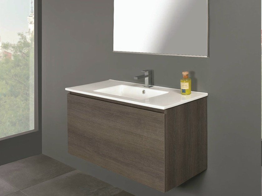Single wall-mounted vanity unit LINK 01 - Mobiltesino