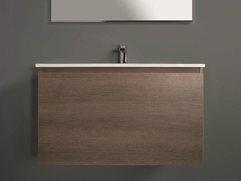Contemporary style single wall-mounted wooden vanity unit with drawers LINK 03 - Mobiltesino